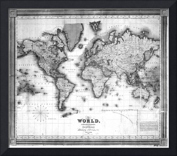 Black and White World Map (1840)