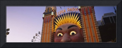 Low angle view of the entrance of an amusement pa