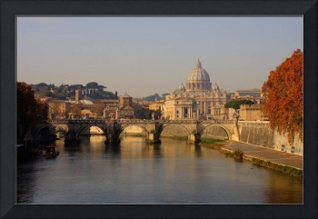Rome Saint Angelo bridge and Saint Petrus Basilica