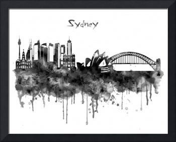 Sydney Black and White Watercolor Skyline