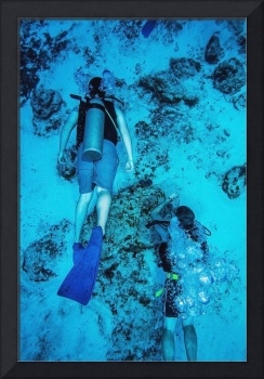 Two scuba divers swimming, Cozumel, Mexico