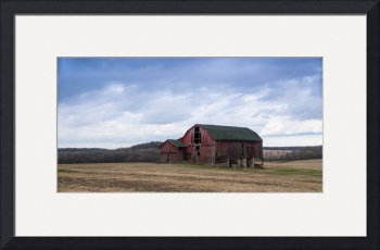 Old Red Barn and Corn Stubble by D. Brent Walton