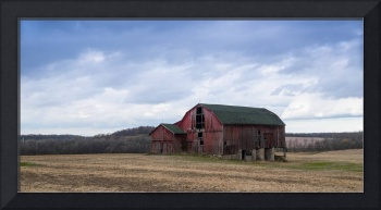 Old Red Barn and Corn Stubble