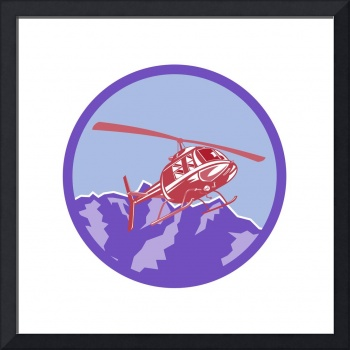 Helicopter Alps Mountains Circle Retro