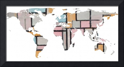 World Map Silhouette - Abstract Piet Mondrian