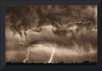 May Showers Lightning Storm Sepia
