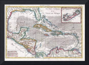 Vintage Map of The Caribbean (1780)