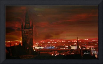 Glasgow Scotland in Red at Night