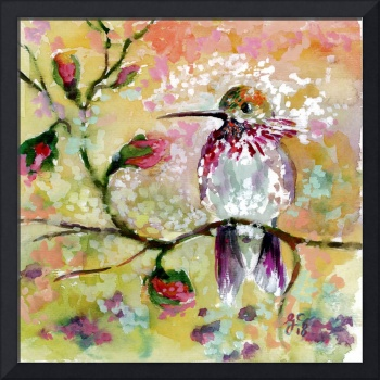 Spring Hummingbird Mixed Media Art