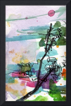 Organic Abstract Nature and Pink Watercolor by Gin
