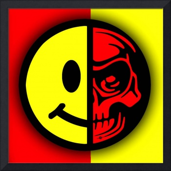 Smiley Face Skull Yellow Red Shadow