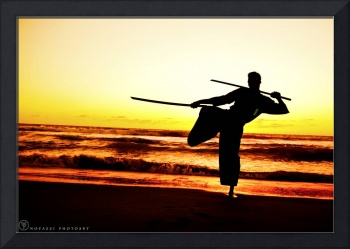 Martial Arts Man Silhouette in Sunset w Dual Sword