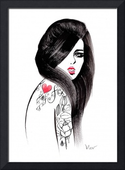 Ink in her veins - fashion illustration of a girl