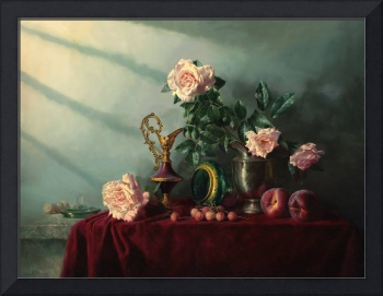 Still life with the cherry and the peaches