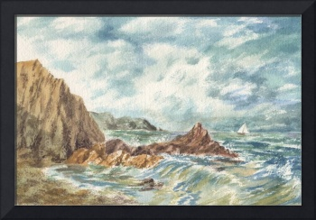 Stormy Seascape With The Boat At The Ocean Shore