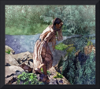 Sacagawea looking out over the landscape