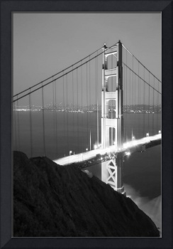 Golden Gate Bridge at Night (Black & White)