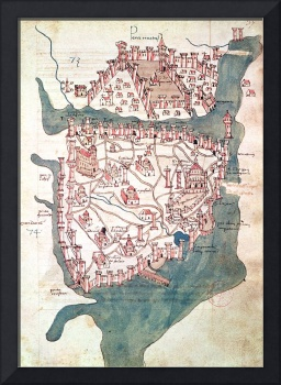 Plan of Constantinople (vellum) map