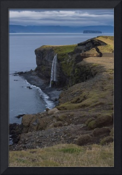 Ocean Bluffs and Waterfall, Northern Iceland
