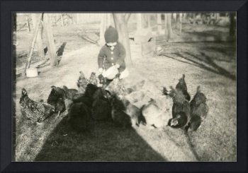 Vintage Photo  1920s - 1940s Feeding Chicken - 067