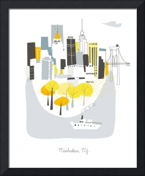Manhattan Modern Cityscape Illustration
