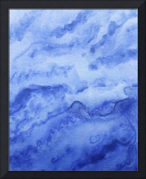 Organic Sky And Royal Blue Watercolor Abstract