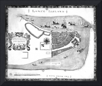 Historical Map of New York City (1664) BW