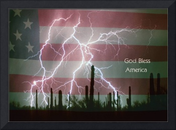 God Bless America Red White Blue Lightning Storm i