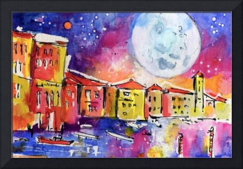 Large Moon Over Venice  Watercolor Painting
