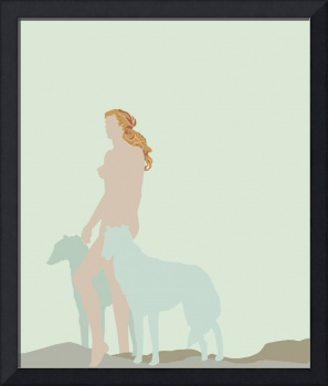 color block woman and dogs