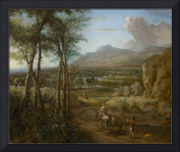 Philip de Koninck~Panorama with travellers and her