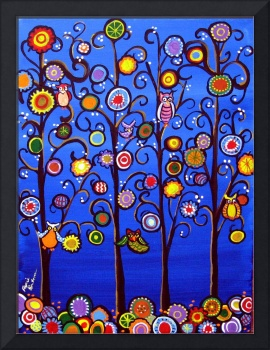 Owls In Trees Whimsical Folk Art