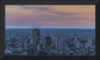 Guayaquil Aerial Cityscape View Sunset Scene