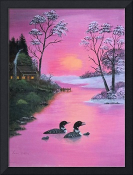 loons in pink sunset