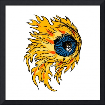 Flaming Eyeball On Fire Drawing