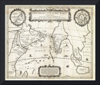 1658 Jansson Map of the Indian Ocean Erythrean Sea