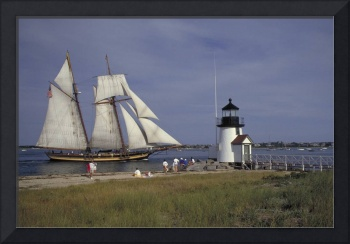 Schooner Pride ll sails past Nantucket Light
