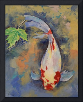 Koi with Japanese Maple Leaf