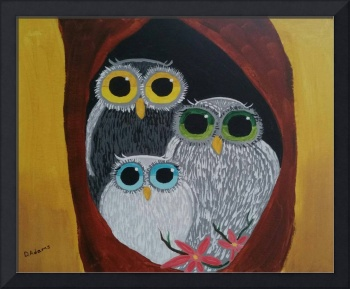 Whimsical Owl Family