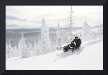 Snowmobile Carving Virgin Powder