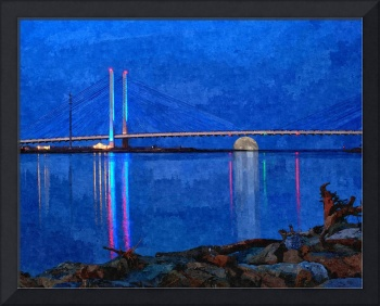 Moon Rising Under the IRI Bridge - Painterly Style