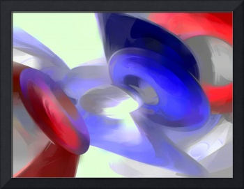 Red, White and Blue Pastel Abstract