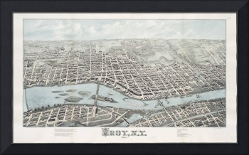 Vintage Pictorial Map of Troy New York (1877)