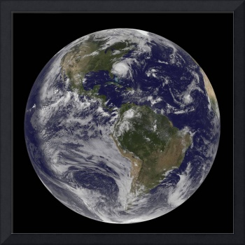 Full Earth with Hurricane Irene visible on the Uni
