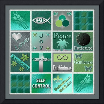 Fruit Of The Spirit Poster Turquoise Emerald Color