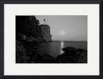 Split Rock Lighthouse - Full Moon Black and White by Wayne Moran