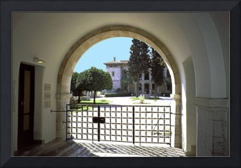 Museum Entrance with orange trees, Athens, Greece