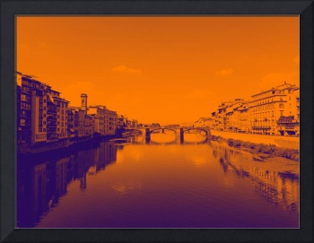 Serene River Scene (Two-Toned Orange and Blue)