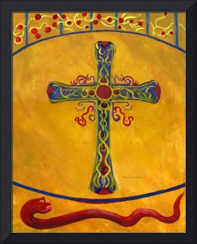 Cross in Gold with Red, Green, Blue, Purple--Medie