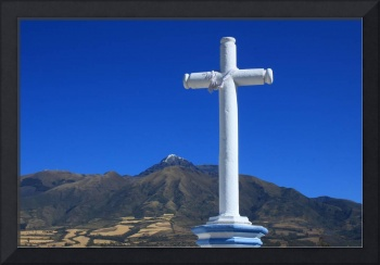 Christian Cross and Mount Cotacachi